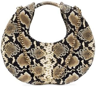 BY FAR Lune python-effect leather bag