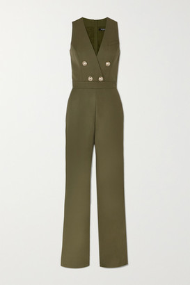 Balmain Buttoned-embellished Wool Jumpsuit - Army green