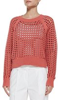 Rebecca Taylor Lattice-Stitch Cropped Knit Sweater (Medium