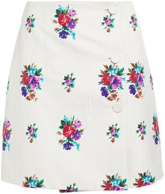 MSGM Floral-print Moire Mini Skirt