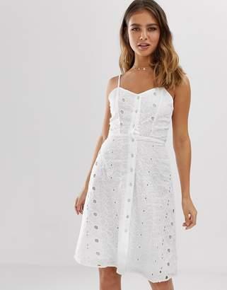 Brave Soul cami strap broderie anglais midi dress-White