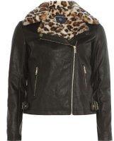 Dorothy Perkins Womens Black Leopard Print Faux Fur Collar Biker Jacket- Black