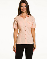 Le Château Stretch Poplin Short-Sleeve Blouse