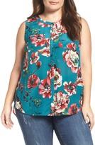 Lucky Brand Plus Size Women's Floral Print Silk Tank