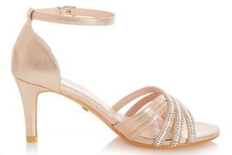 Dorothy Perkins Womens Quiz Gold Diamante Mid Heel Sandals, Gold