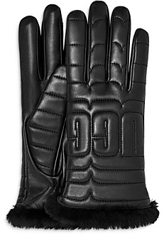 UGG Logo Quilted Leather & Shearling Tech Gloves