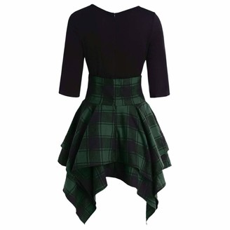 Goosun Clothing Shirt Dress Women Casual O-Neck Lace Up Tartan Plaid Print Asymmetrical Mini Dress Women V-Neck A-Line Fit Flare Swing Party Skirt Goosun Elegant Checks Shirt Skirt Plus Size Green