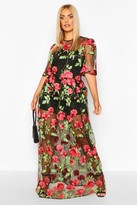 boohoo Plus Embroidered Floral Mesh Skater Dress