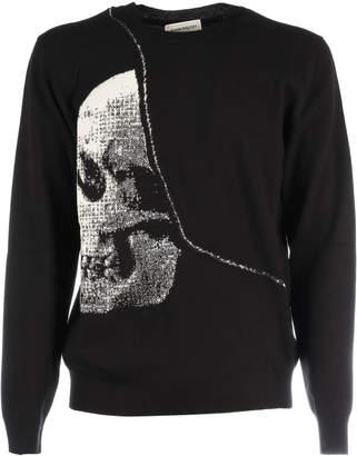 Alexander McQueen Wool Crew Neck Lg Slv Skull