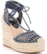 Gianni Bini Laceup Espadrille Retro Sheep Soft Mesh Woven Wedges