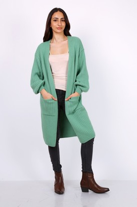 Lilura London Chunky Knit Oversized Cardigan In Green