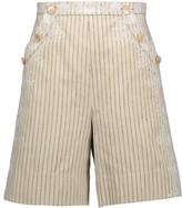 Zimmermann Master Adorn embellished striped twill shorts