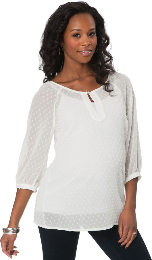 A Pea in the Pod 3/4 Sleeve Keyhole Detail Maternity Blouse