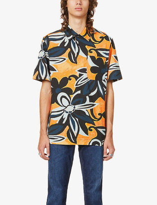 Dries Van Noten Hadlers floral-print regular-fit cotton polo shirt