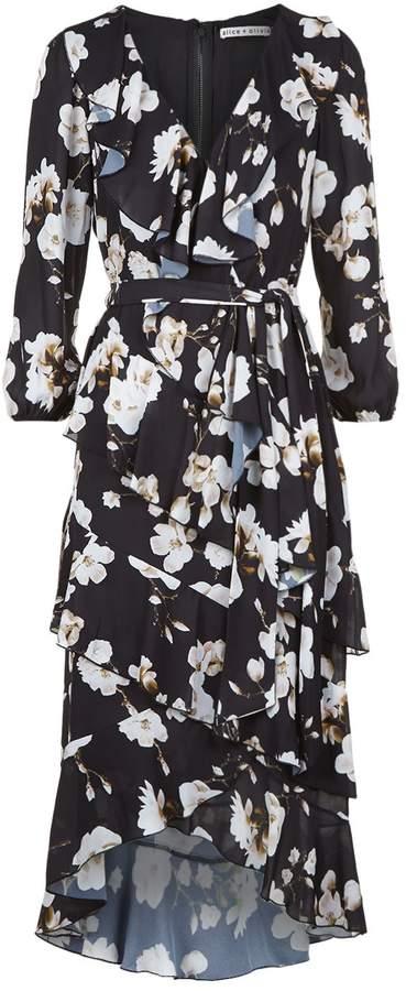Alice + Olivia Kye Ruffle Wrap Dress