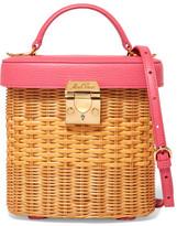 Mark Cross Benchley Textured Leather-trimmed Rattan Shoulder Bag - Pink