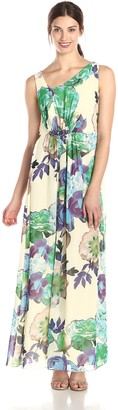 Nine West Women's Sleevelss Asymmetrical Printed Gown