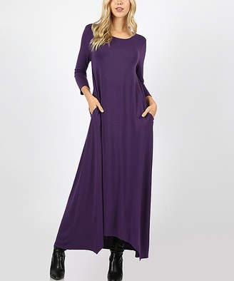 Zenana Women's Maxi Dresses DK.PURPLE_IPB - Dark Purple Three-Quarter Sleeve Maxi Dress - Women