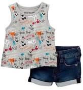 True Religion Doodle Tank & Denim Shorts Box Set (Baby Girls)