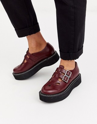 Asos Design DESIGN Mass chunky mary jane flat shoes in burgundy-Red