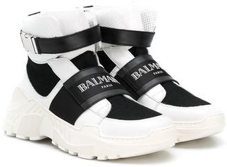 Balmain Kids hi-top logo sneakers