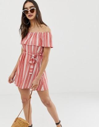 Asos DESIGN off shoulder pique stripe sundress with belt