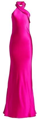 Galvan Pandora Silk Halter Gown