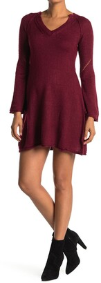 Angie Bell Sleeve V-Neck Sweater Dress