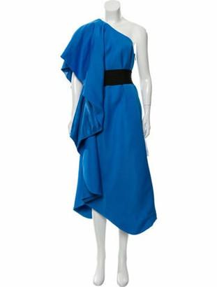 Herve Leger One-Shoulder Knee-Length Dress w/ Tags Blue