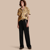 Burberry Short-sleeved Castle Print Pyjama-style Shirt, Yellow