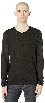John Varvatos Collection Slim Fit Henley with Rib Stitch Y2784W1 (Black) Men's Clothing