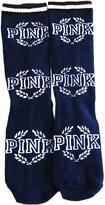 vangobeauty Victoria's Secret PINK Crew Socks Navy Crest Pink Logo 5.5 to 9