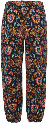 Etro Quilted Floral-print Cotton Tapered Pants