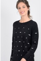Molly Bracken Fluffy Jumper with Polka Dots & Bow Embroidery