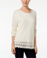 Style&Co. Style & Co. Drop-Shoulder Crochet-Hem Top, Only at Macy's