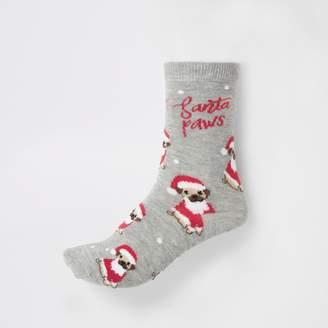 River Island Womens Grey 'Santa paws' ankle socks