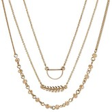 "Women's Set of 3 Chokers with Leaf, Beads, and Chain - White/Gold (12"")"