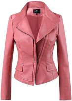 LingLuoFang LLF Women's Faux Leather Moto Biker Short Jacket With Stitching