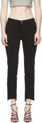 Frame Black Le High Straight Raw Stagger Jeans