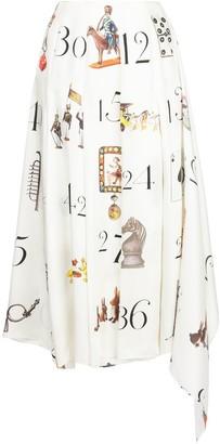 Monse printed numbers pleated midi skirt