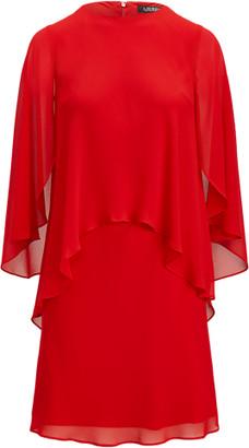 Ralph Lauren Layered Georgette Elbow-Sleeve Dress