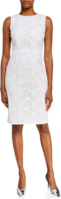 Carolina Herrera Sleeveless Eyelet Lace Sheath Dress
