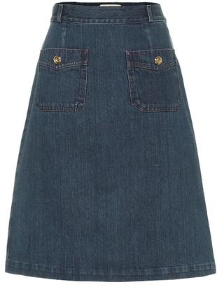 Gucci Cotton denim midi skirt
