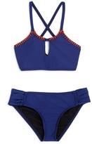 Splendid Girls' Chambray High Neck 2-Piece Swimsuit
