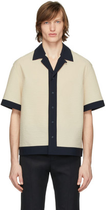 Deveaux Beige and Navy Panelled Resort Shirt