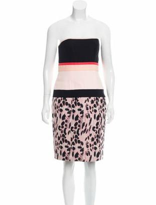 J. Mendel Feline Jacquard Strapless Dress w/ Tags Black