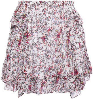 IRO Tide Ruffled Printed Georgette Mini Skirt