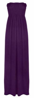 Eshoppingwarehouse Ladies Bandeau Shirred Boob Tube Maxi Womens Long Strapless Elasticated Dress Red UK 18-20