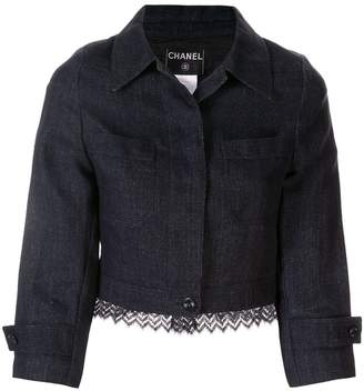 Chanel Pre-Owned zig-zag knitted hem cropped jacket
