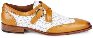 Mezlan Leather Wing-Tip Monk-Strap Shoes